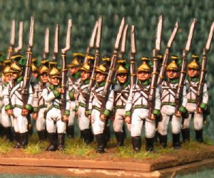 15mm, Napoleonic Austrian Fusiliers (German) pre 1809 Green Facings AB 24 Figures